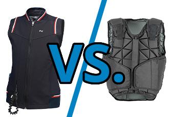 Klassische Sicherheitsweste vs. Airbag-Weste beim Reiten